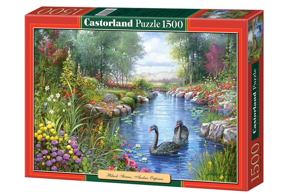 jigsaw puzzle 1500 pieces andres orpinas black swans. Black Bedroom Furniture Sets. Home Design Ideas