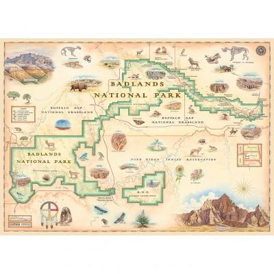 Map Of Country Usa.Badlands Map