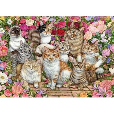 Floral Cats 1000 Pieces|Falcon Jigsaws