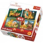 Trefl-34317 4 Jigsaw Puzzles - Lion King