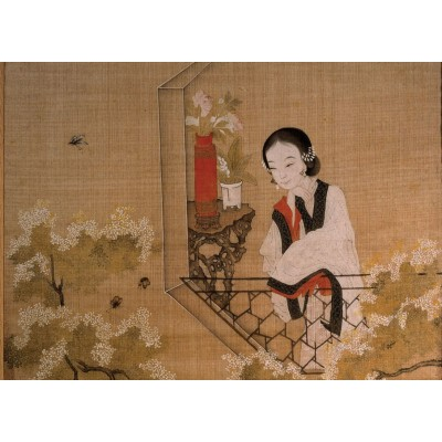 Puzzle Ricordi-51477 Chinese Art - Lady mirroring Peach Blossoms
