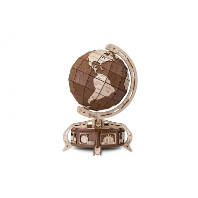 Eco-Wood-Art-38 3D Wooden Jigsaw Puzzle - Brown Globe