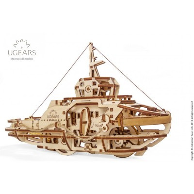 Ugears-12098 3D Wooden Jigsaw Puzzle - Tugboat
