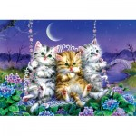 Puzzle  Art-Puzzle-5086 Kittens swinging in the Moonlight