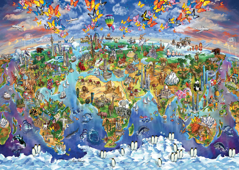 Puzzle world wonders illustrated map art puzzle 4717 2000 pieces world wonders illustrated map gumiabroncs Images