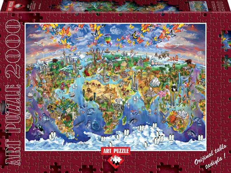 Puzzle world wonders illustrated map art puzzle 4717 2000 pieces world wonders illustrated map world wonders illustrated map puzzle gumiabroncs Images