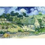 Puzzle  Art-by-Bluebird-60113 Vincent Van Gogh - Thatched Cottages at Cordeville, 1890