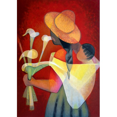 Puzzle Art-by-Bluebird-60136 Louis Toffoli - La Vendeuse d'Arums, 1996