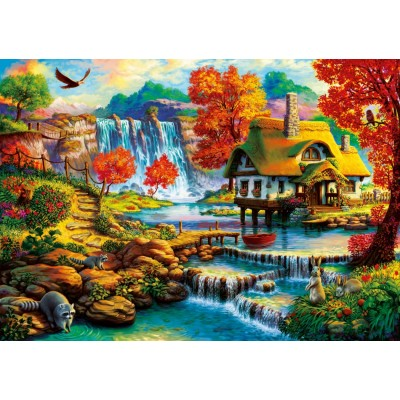 Puzzle Bluebird-Puzzle-70339-P Country House by the Water Fall