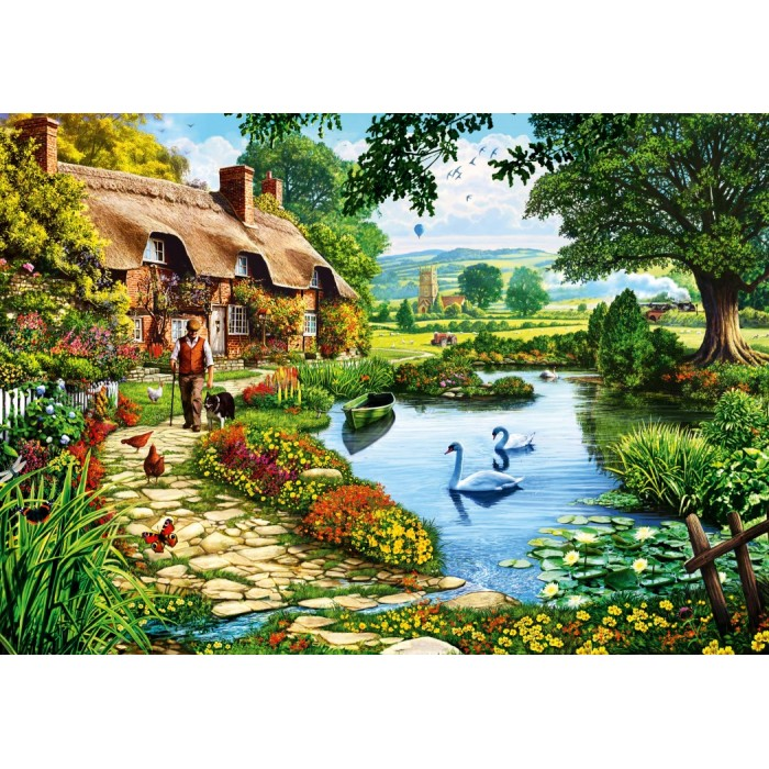 Cottage by the Lake Puzzle 1000 pieces