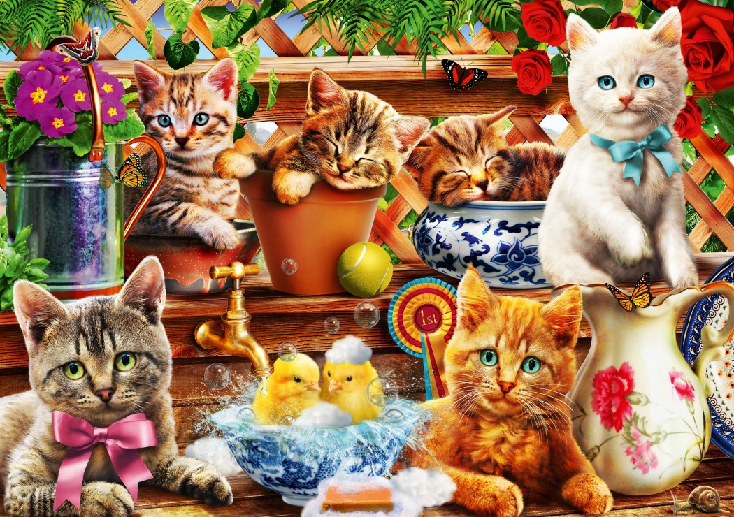 Kittens in the Potting Shed 1000 piece jigsaw puzzle