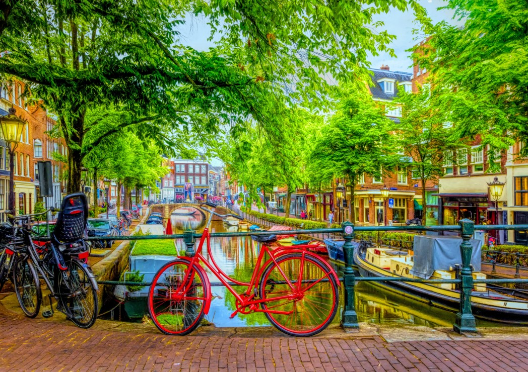 The Red Bike in Amsterdam 1000 piece jigsaw puzzle