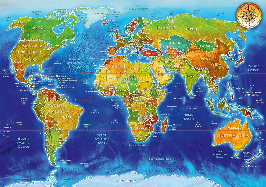 World Geo-Political Map 1000 piece jigsaw puzzle