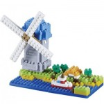 Brixies-58210 Nano 3D Puzzle - Windmill (Level 3)