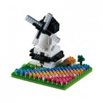 Brixies-58655 Nano 3D Puzzle - Windmill with Tulips (Level 3)