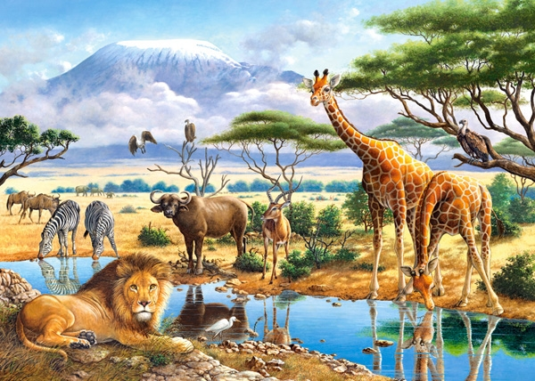 2 Puzzles Animals Of The Savannah And The Jungle