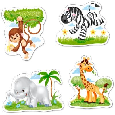 Castorland-005017 4 Jigsaw Puzzles - XXL Pieces - African Animals