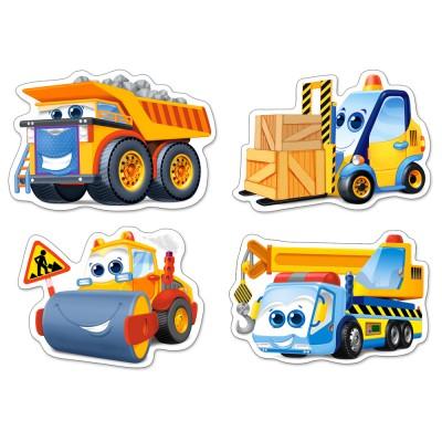 Castorland-005024 4 Jigsaw Puzzles - XXL Pieces - Funny Building Machines