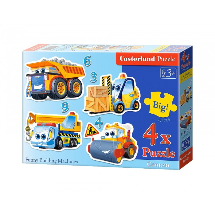 4 Jigsaw Puzzles - XXL Pieces - Funny Building Machines
