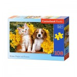 Puzzle  Castorland-010134 Kitten, Puppy and Flowers