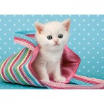 Puzzle  Castorland-010172 White Cat in Bag