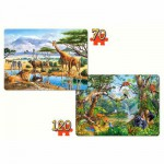 Castorland-021031 Jigsaw Puzzle - 70 and 120 Pieces : Jungle Animals