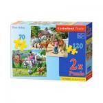 Castorland-021062 2 Puzzles - Horse Riding Lesson