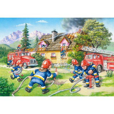 Castorland-040025 Maxi Puzzle: The Firefighters in action