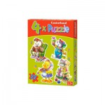 Castorland-04102 Jigsaw Puzzles - 4, 5, 6, 7 Pieces - Progressive Puzzle - 4 in 1 - Playing Animals