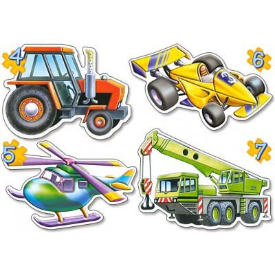 Castorland-04263 4 mini Puzzles : diffrent vehicles