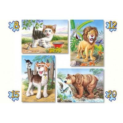 Castorland-04287 4 Puzzles - Animals