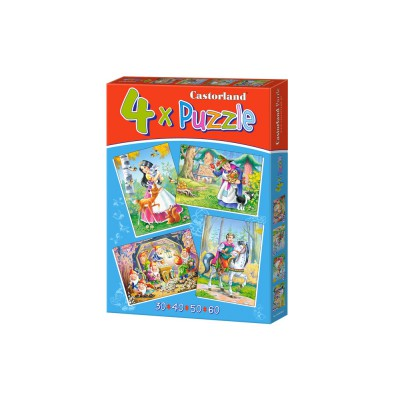 Castorland-04362 4 Puzzles: Snow White and the 7 Dwarfs