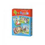 Castorland-04362 4 Puzzles: Snow White and the 7 Dwarfs