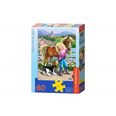 Puzzle Castorland-06755 A Walk with Pony and Dog