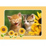 Puzzle  Castorland-06779 Two Kittens with Sunflowers