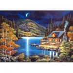 Puzzle  Castorland-102990 Fisherman's Chalet in the Moonlight