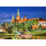 Puzzle  Castorland-103027 Poland, Krakow: Wawel Castle at Night