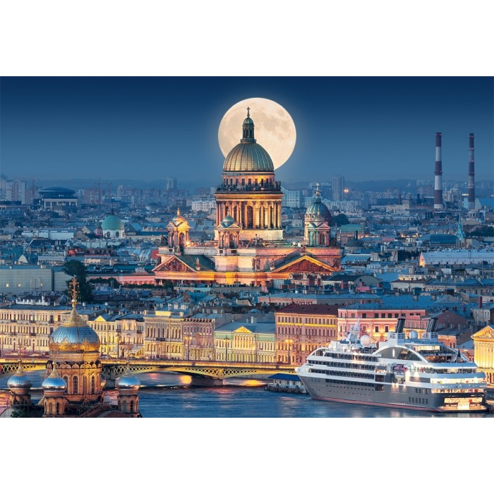 Fullmoon over St. Isaac's Cathedral, Saint Petersburg