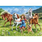 Puzzle  Castorland-13029 The girl and the horses in meadow
