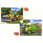 Castorland-21130 2 Puzzles - Digger and Dump Truck