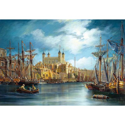 Castorland-300167 Jigsaw Puzzle - 3000 Pieces - Sunrise on the Harbour