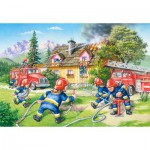 Castorland-40025 Maxi Puzzle: The Firefighters in action