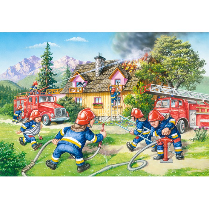 Maxi Puzzle: The Firefighters in action