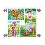 Castorland-4157-4331 4 puzzles: The Jungle Book