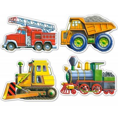 Castorland-4256 4 mini Puzzles : Construction site , fireman and locomotive vehicles