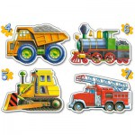 Castorland-4256 4 mini Puzzles : Construction site , fireman and locomotive vehicles
