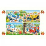 Castorland-4324 4 puzzles: Funny vehicles