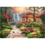 Puzzle  Castorland-52202 Chuck Pinson: Sierra River Falls