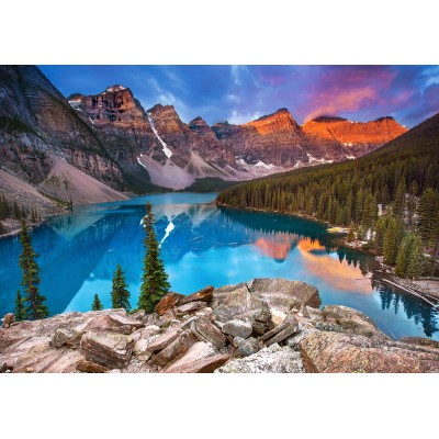 Puzzle Castorland-53001 Sunrise at Moraine Lake, Canada