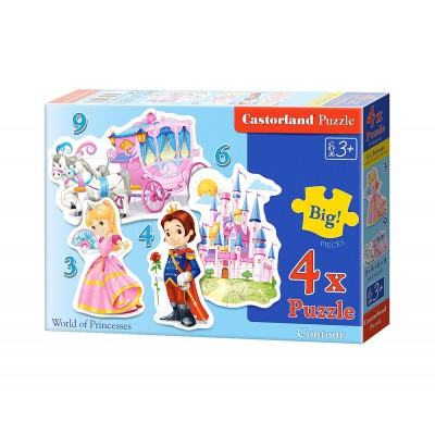 Castorland-B-005031 4 Jigsaw Puzzles - XXL Pieces - World of Princesses